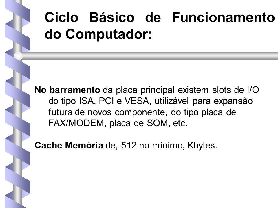 Ciclo Básico de Funcionamento do Computador: No barramento da placa principal existem slots de I/O do tipo ISA, PCI e VESA, utilizável para expansão futura de novos componente, do tipo placa de FAX/MODEM, placa de SOM, etc.