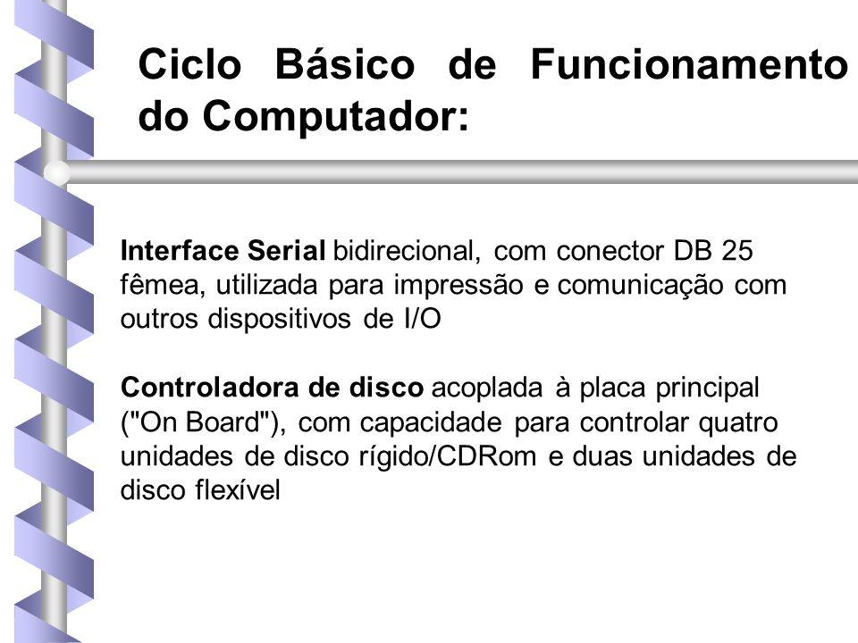 Ciclo Básico de Funcionamento do Computador: Interface Serial bidirecional, com conector DB 25 fêmea, utilizada para impressão e comunicação com outros dispositivos de I/O Controladora de disco acoplada à placa principal ( On Board ), com capacidade para controlar quatro unidades de disco rígido/CDRom e duas unidades de disco flexível