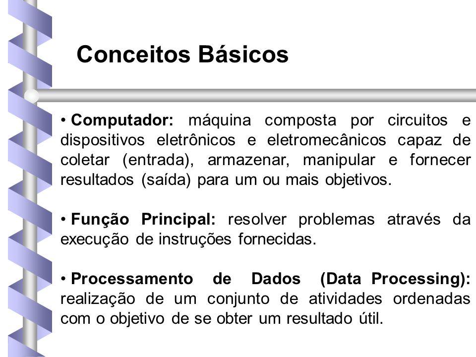 Conceitos Básicos • Computador: máquina composta por circuitos e dispositivos eletrônicos e eletromecânicos capaz de coletar (entrada), armazenar, manipular e fornecer resultados (saída) para um ou mais objetivos.