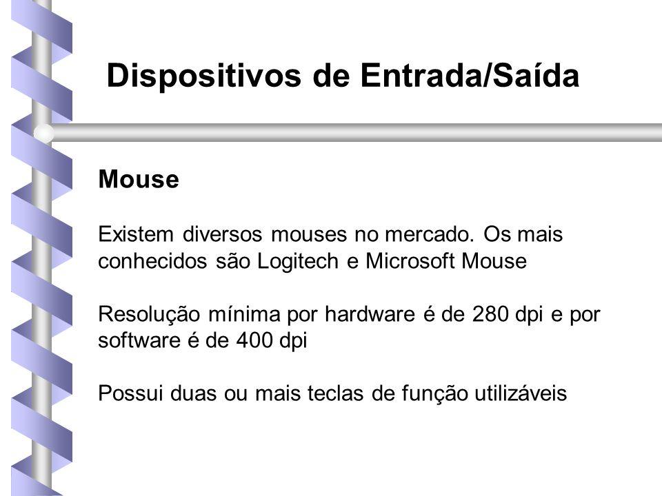 Dispositivos de Entrada/Saída Mouse Existem diversos mouses no mercado.