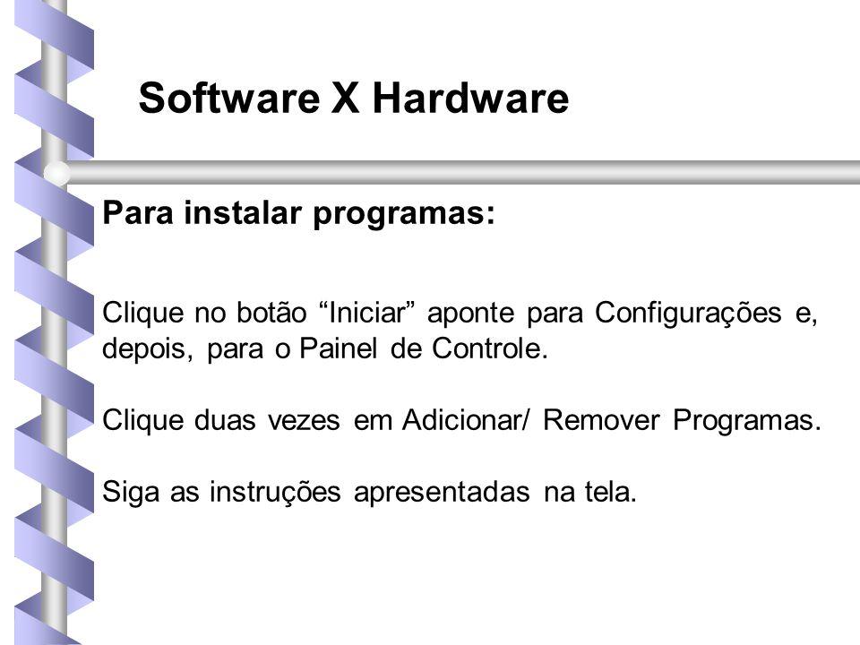 Software X Hardware Para instalar programas: Clique no botão Iniciar aponte para Configurações e, depois, para o Painel de Controle.