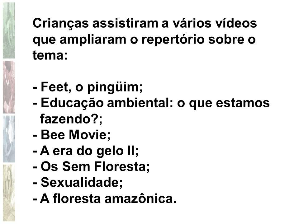Crianças assistiram a vários vídeos que ampliaram o repertório sobre o tema: - Feet, o pingüim; - Educação ambiental: o que estamos fazendo?; - Bee Mo