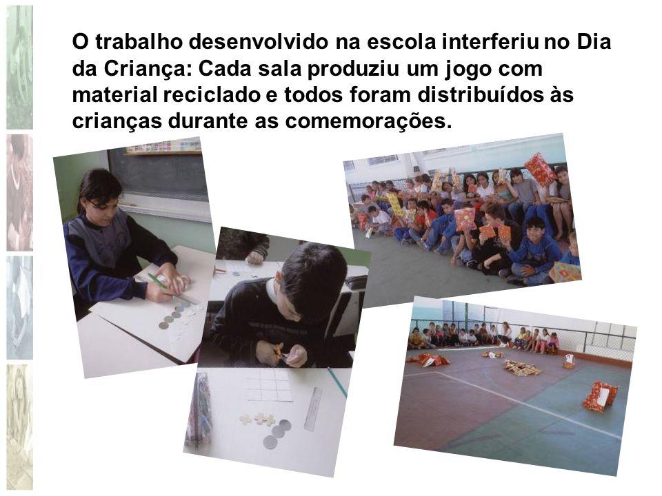 O trabalho desenvolvido na escola interferiu no Dia da Criança: Cada sala produziu um jogo com material reciclado e todos foram distribuídos às crianç