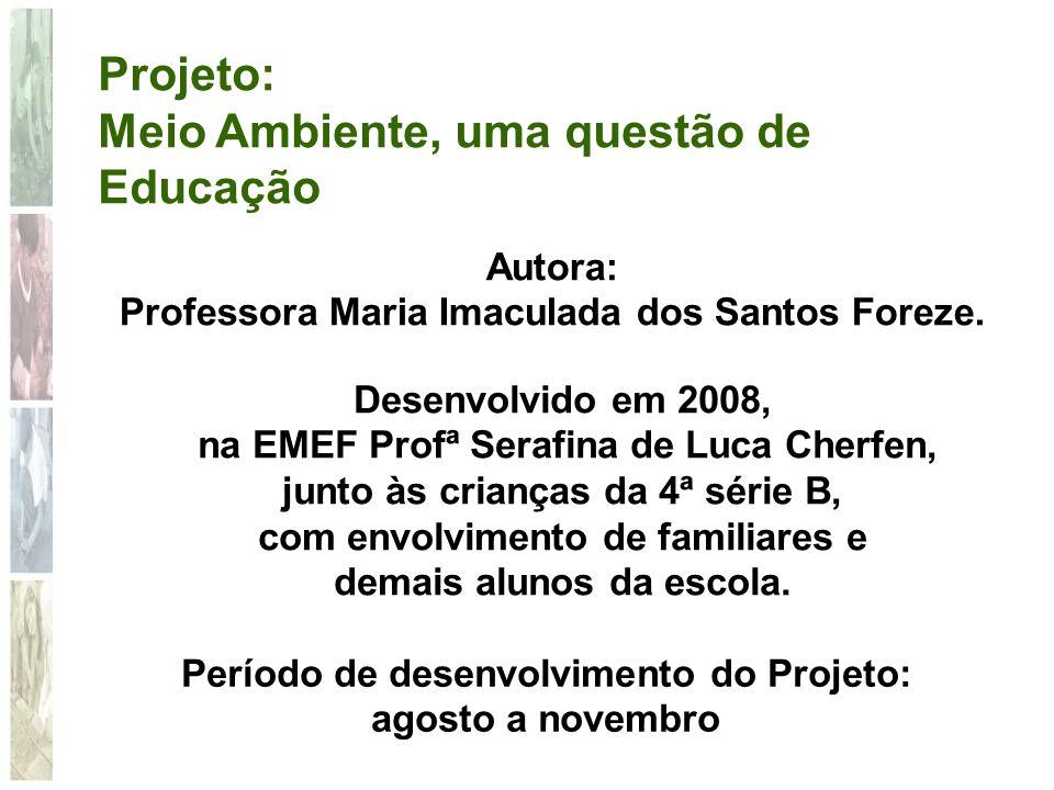 Projeto: Meio Ambiente, uma questão de Educação Autora: Professora Maria Imaculada dos Santos Foreze. Período de desenvolvimento do Projeto: agosto a
