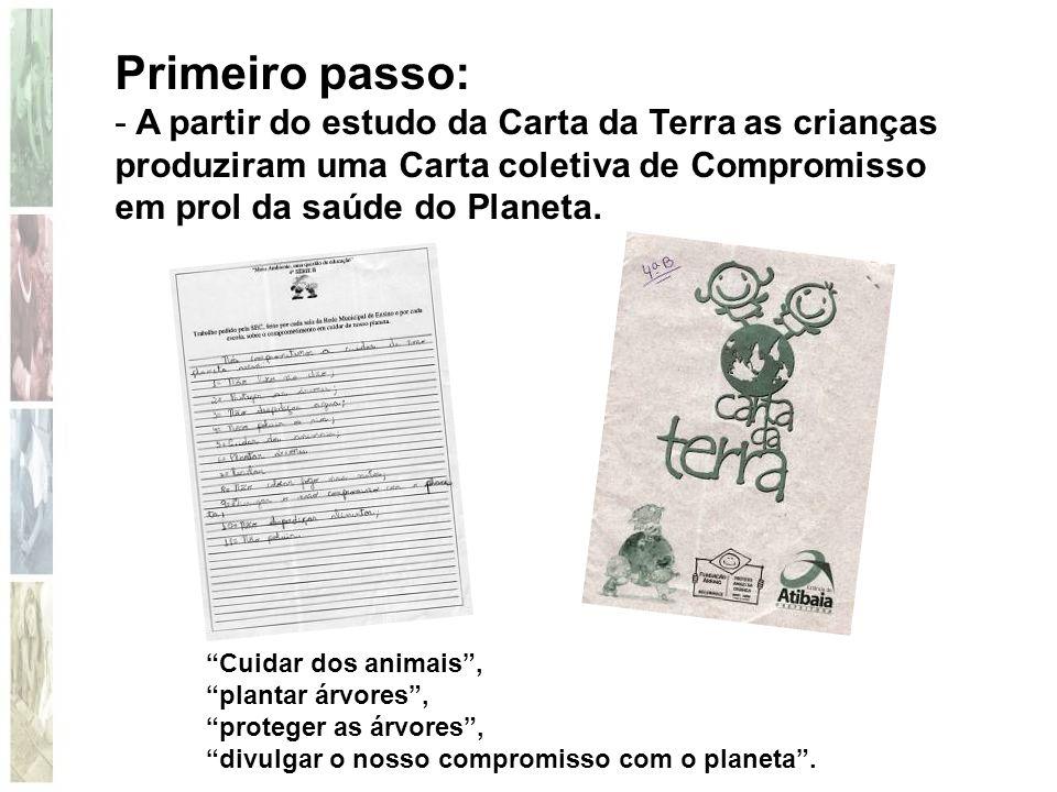 """Primeiro passo: - A partir do estudo da Carta da Terra as crianças produziram uma Carta coletiva de Compromisso em prol da saúde do Planeta. """"Cuidar d"""