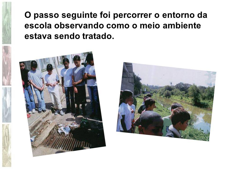 O passo seguinte foi percorrer o entorno da escola observando como o meio ambiente estava sendo tratado.
