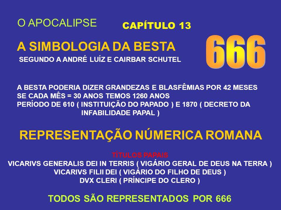 O APOCALIPSE CAPÍTULO 13 A SIMBOLOGIA DA BESTA SEGUNDO A ANDRÉ LUÍZ E CAIRBAR SCHUTEL A BESTA PODERIA DIZER GRANDEZAS E BLASFÊMIAS POR 42 MESES SE CAD