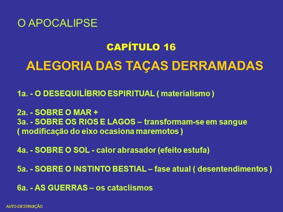 O APOCALIPSE CAPÍTULO 16 ALEGORIA DAS TAÇAS DERRAMADAS 1a. - O DESEQUILÍBRIO ESPIRITUAL ( materialismo ) 2a. - SOBRE O MAR + 3a. - SOBRE OS RIOS E LAG