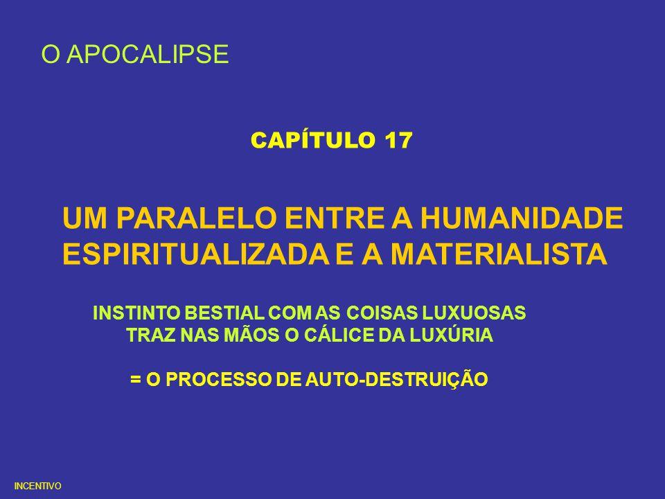 O APOCALIPSE CAPÍTULO 17 UM PARALELO ENTRE A HUMANIDADE ESPIRITUALIZADA E A MATERIALISTA INSTINTO BESTIAL COM AS COISAS LUXUOSAS TRAZ NAS MÃOS O CÁLIC
