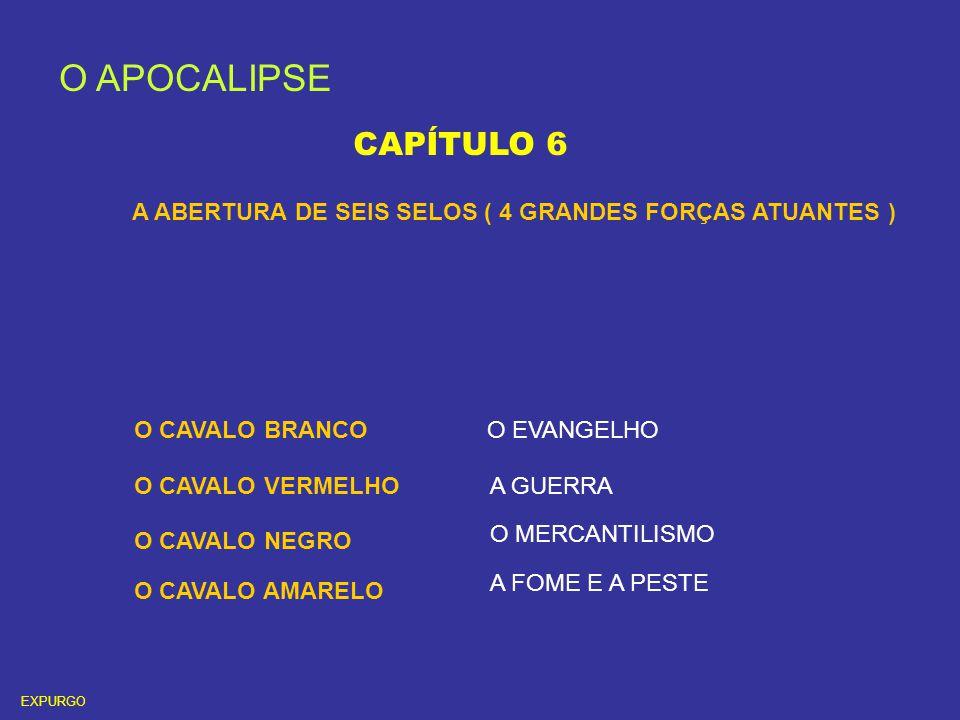 O APOCALIPSE CAPÍTULO 6 A ABERTURA DE SEIS SELOS ( 4 GRANDES FORÇAS ATUANTES ) O CAVALO BRANCO O CAVALO VERMELHO O CAVALO NEGRO O CAVALO AMARELO O EVA