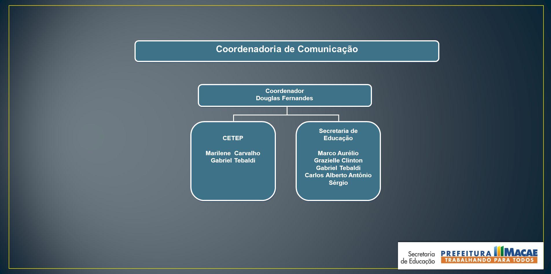 Coordenadoria de Comunicação Secretaria de Educação Marco Aurélio Grazielle Clinton Gabriel Tebaldi Carlos Alberto Antônio Sérgio Secretaria de Educaç