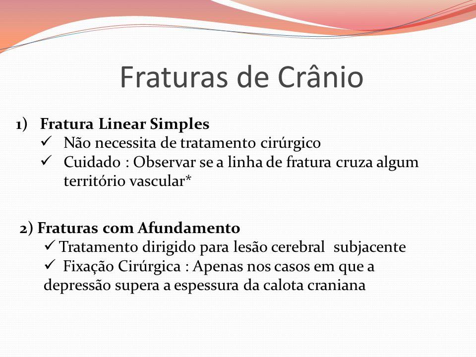 Fraturas de Crânio 1)Fratura Linear Simples  Não necessita de tratamento cirúrgico  Cuidado : Observar se a linha de fratura cruza algum território