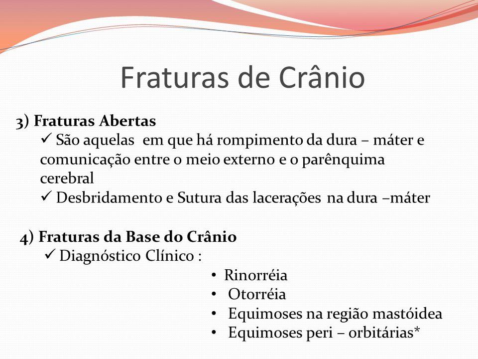 Fraturas de Crânio 3) Fraturas Abertas  São aquelas em que há rompimento da dura – máter e comunicação entre o meio externo e o parênquima cerebral 