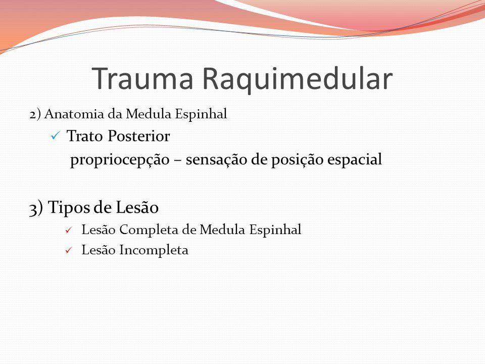 Trauma Raquimedular 2) Anatomia da Medula Espinhal  Trato Posterior propriocepção – sensação de posição espacial 3) Tipos de Lesão  Lesão Completa de Medula Espinhal  Lesão Incompleta