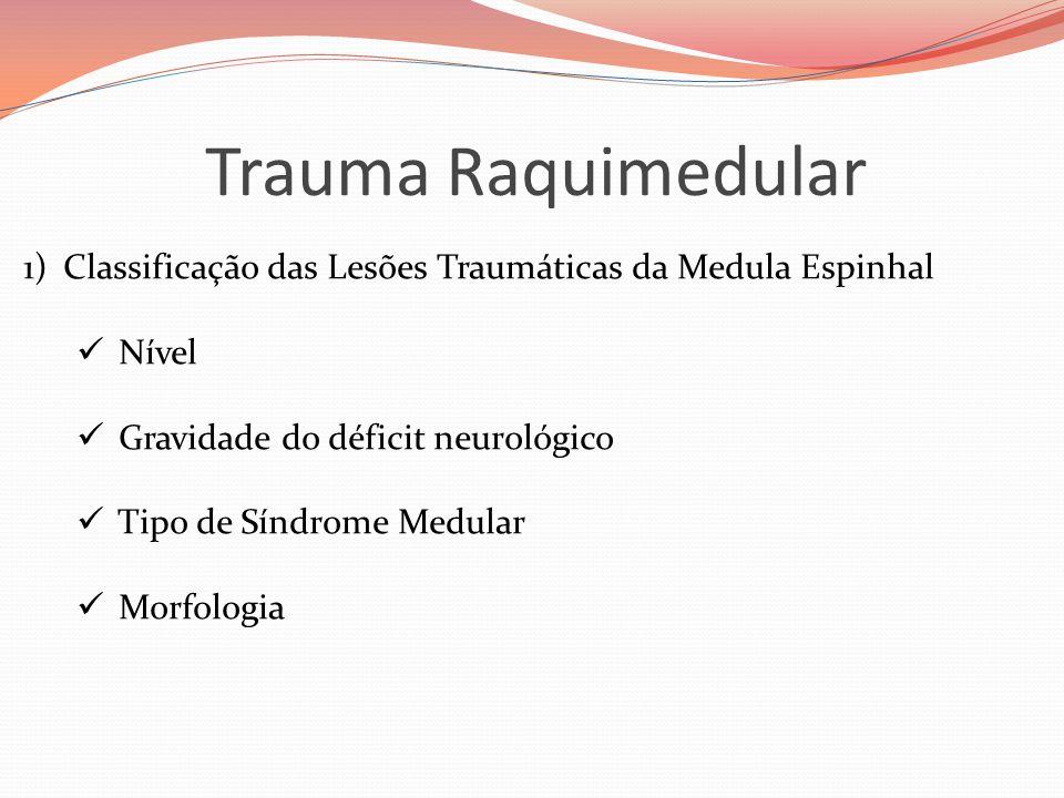 Trauma Raquimedular 1)Classificação das Lesões Traumáticas da Medula Espinhal  Nível  Gravidade do déficit neurológico  Tipo de Síndrome Medular  Morfologia