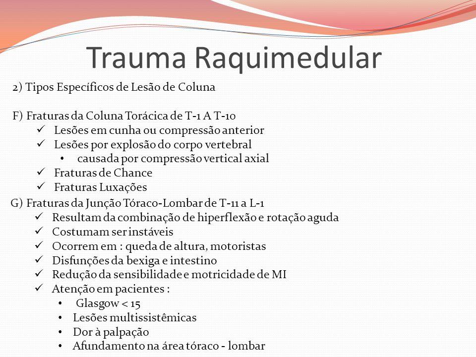 Trauma Raquimedular 2) Tipos Específicos de Lesão de Coluna F) Fraturas da Coluna Torácica de T-1 A T-10  Lesões em cunha ou compressão anterior  Le