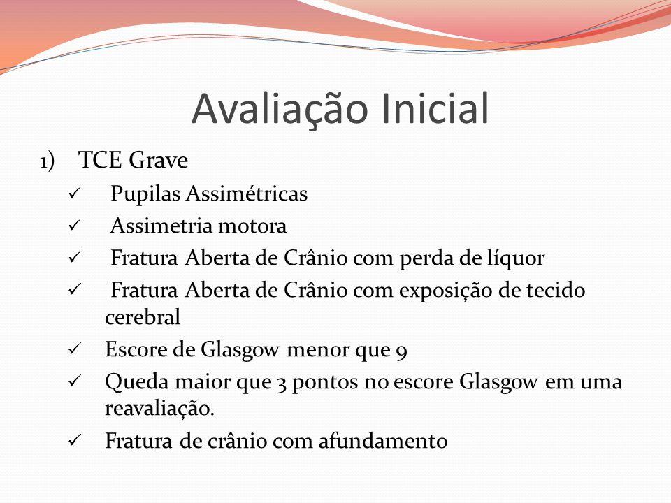 Avaliação Inicial 1) TCE Grave  Pupilas Assimétricas  Assimetria motora  Fratura Aberta de Crânio com perda de líquor  Fratura Aberta de Crânio co