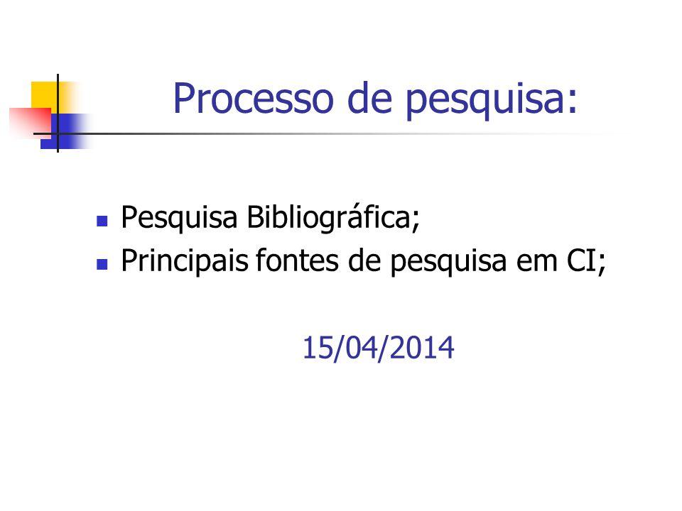 Processo de pesquisa:  Pesquisa Bibliográfica;  Principais fontes de pesquisa em CI; 15/04/2014