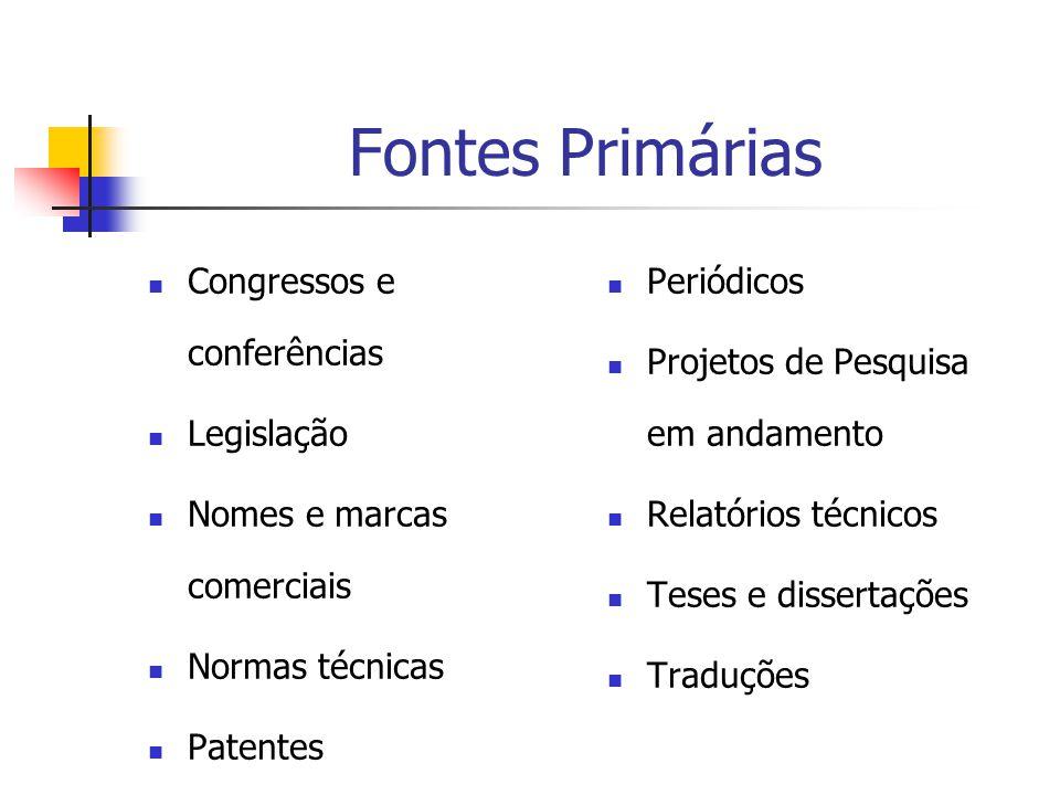 Fontes Primárias  Congressos e conferências  Legislação  Nomes e marcas comerciais  Normas técnicas  Patentes  Periódicos  Projetos de Pesquisa em andamento  Relatórios técnicos  Teses e dissertações  Traduções
