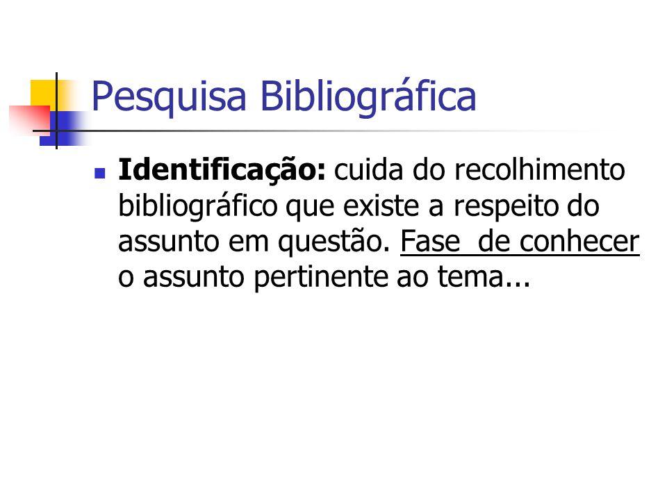 Pesquisa Bibliográfica  Identificação: cuida do recolhimento bibliográfico que existe a respeito do assunto em questão.