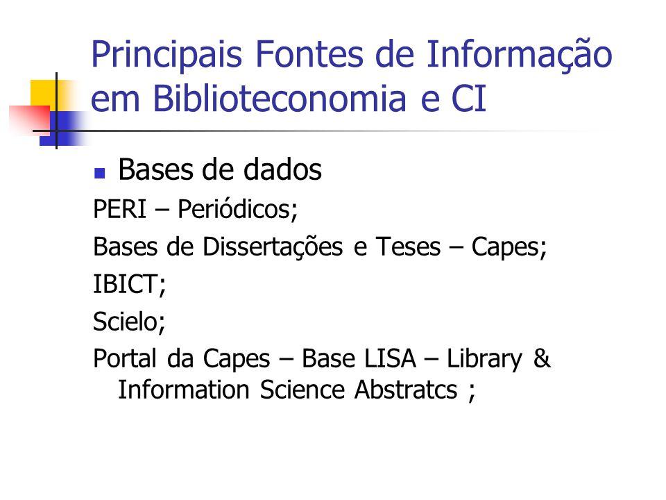Principais Fontes de Informação em Biblioteconomia e CI  Bases de dados PERI – Periódicos; Bases de Dissertações e Teses – Capes; IBICT; Scielo; Portal da Capes – Base LISA – Library & Information Science Abstratcs ;