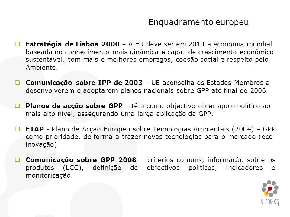 Enquadramento europeu  Estratégia de Lisboa 2000 – A EU deve ser em 2010 a economia mundial baseada no conhecimento mais dinâmica e capaz de crescime