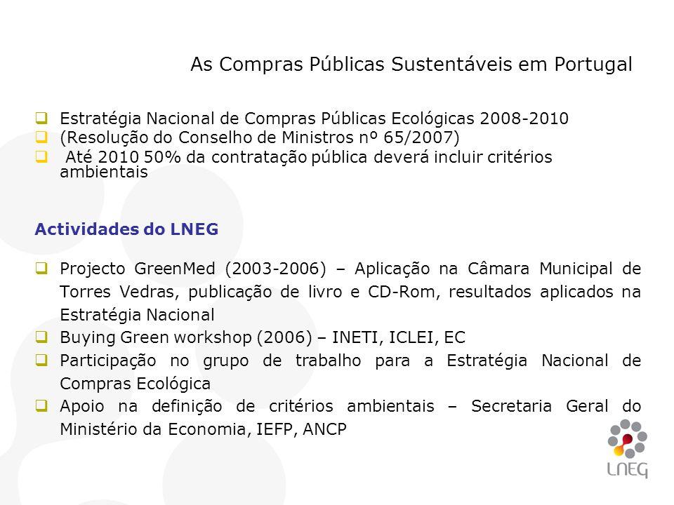 As Compras Públicas Sustentáveis em Portugal  Estratégia Nacional de Compras Públicas Ecológicas 2008-2010  (Resolução do Conselho de Ministros nº 6
