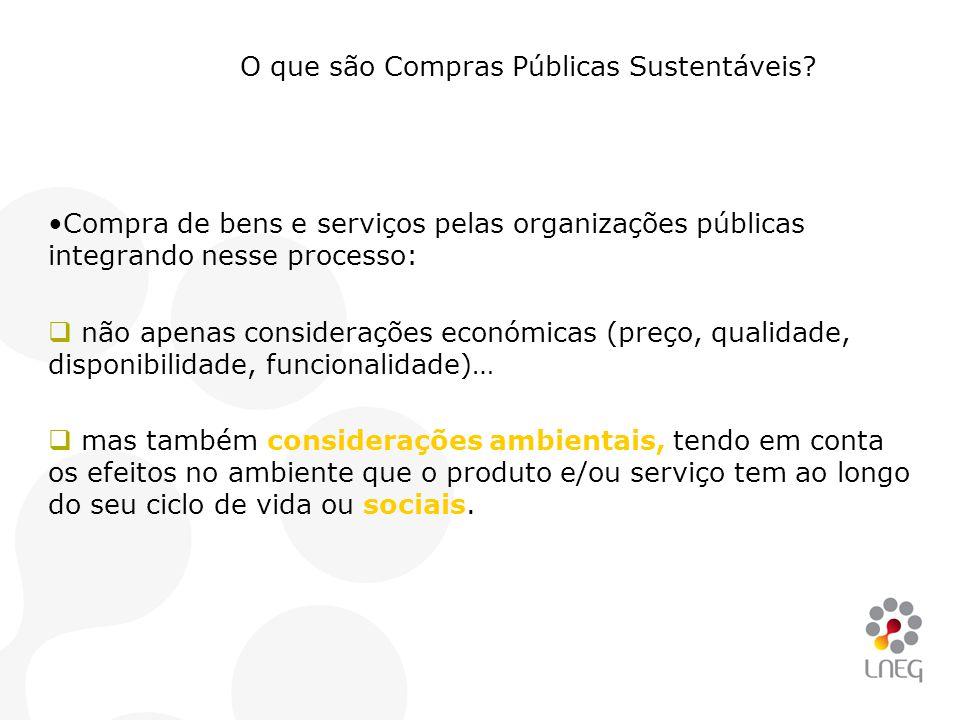 O que são Compras Públicas Sustentáveis? •Compra de bens e serviços pelas organizações públicas integrando nesse processo:  não apenas considerações