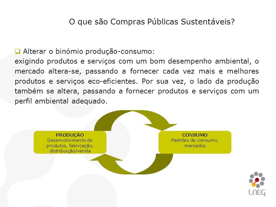  Alterar o binómio produção-consumo: exigindo produtos e serviços com um bom desempenho ambiental, o mercado altera-se, passando a fornecer cada vez