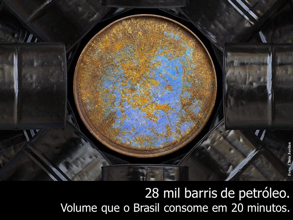 28 mil barris de petróleo. Volume que o Brasil consome em 20 minutos. Foto: Chris Jordan