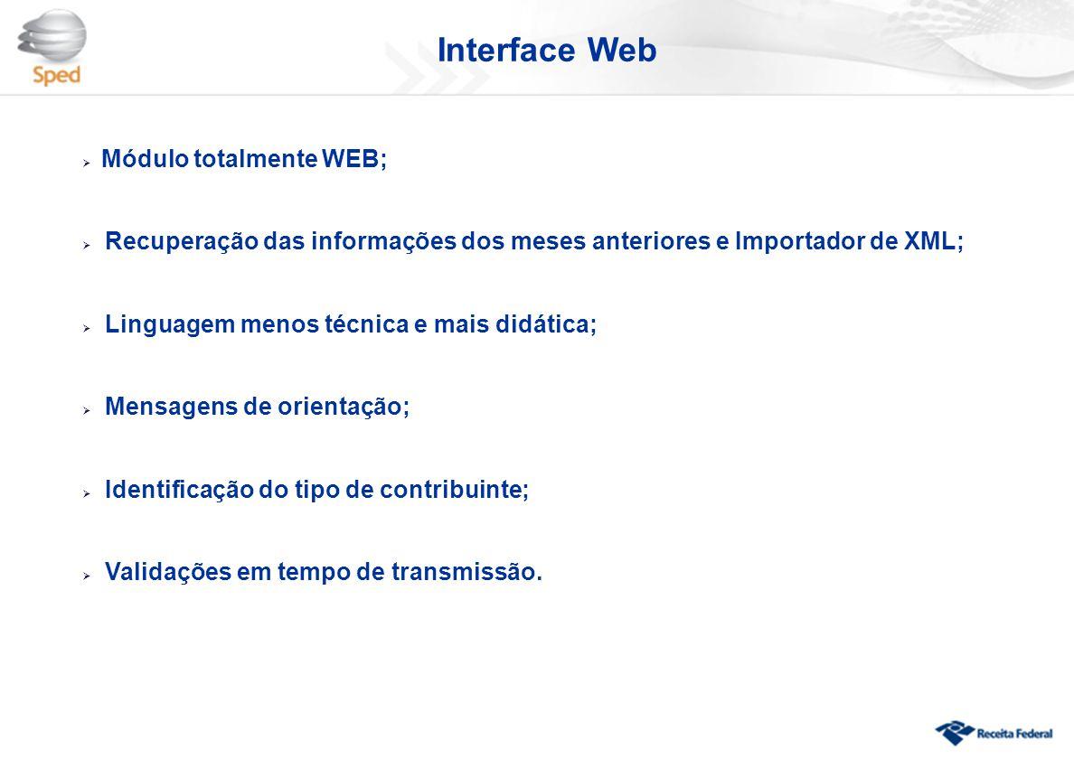  Módulo totalmente WEB;  Recuperação das informações dos meses anteriores e Importador de XML;  Linguagem menos técnica e mais didática;  Mensagen