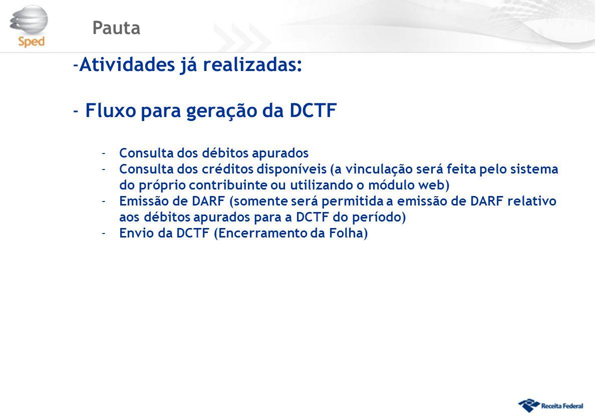 Pauta -Atividades já realizadas: - Fluxo para geração da DCTF -Consulta dos débitos apurados -Consulta dos créditos disponíveis (a vinculação será feita pelo sistema do próprio contribuinte ou utilizando o módulo web) -Emissão de DARF (somente será permitida a emissão de DARF relativo aos débitos apurados para a DCTF do período) -Envio da DCTF (Encerramento da Folha)