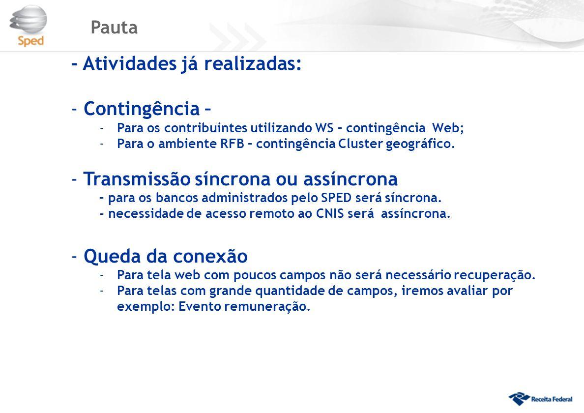 Pauta - Atividades já realizadas: - Contingência – -Para os contribuintes utilizando WS – contingência Web; -Para o ambiente RFB – contingência Cluster geográfico.
