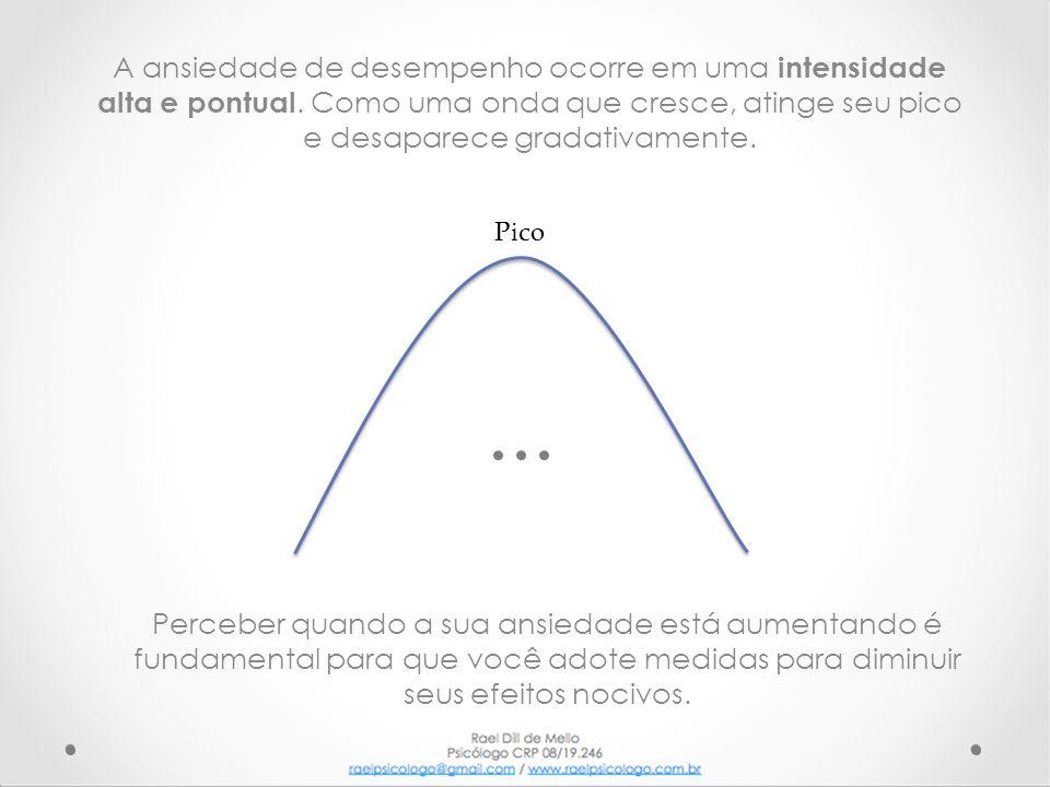 A ansiedade de desempenho ocorre em uma intensidade alta e pontual. Como uma onda que cresce, atinge seu pico e desaparece gradativamente. Perceber qu