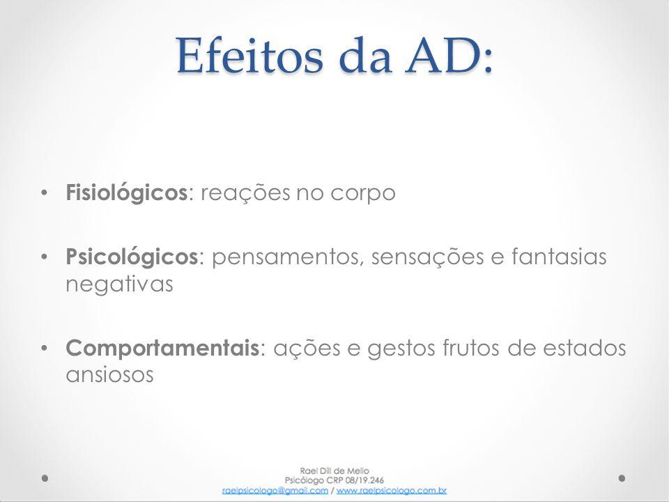 Efeitos da AD: • Fisiológicos : reações no corpo • Psicológicos : pensamentos, sensações e fantasias negativas • Comportamentais : ações e gestos frut