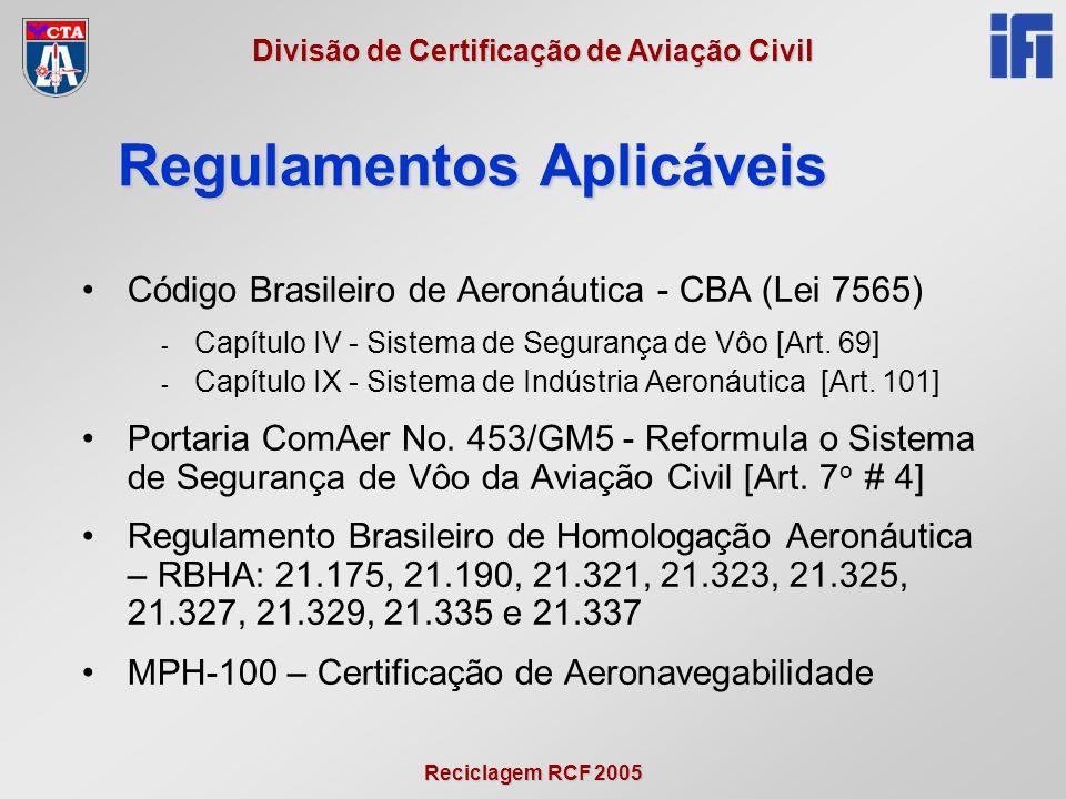 Reciclagem RCF 2005 Divisão de Certificação de Aviação Civil •Código Brasileiro de Aeronáutica - CBA (Lei 7565) - Capítulo IV - Sistema de Segurança d