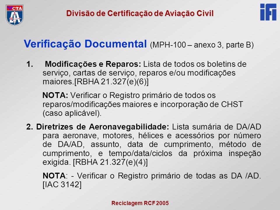 Reciclagem RCF 2005 Divisão de Certificação de Aviação Civil 1. Modificações e Reparos: Lista de todos os boletins de serviço, cartas de serviço, repa