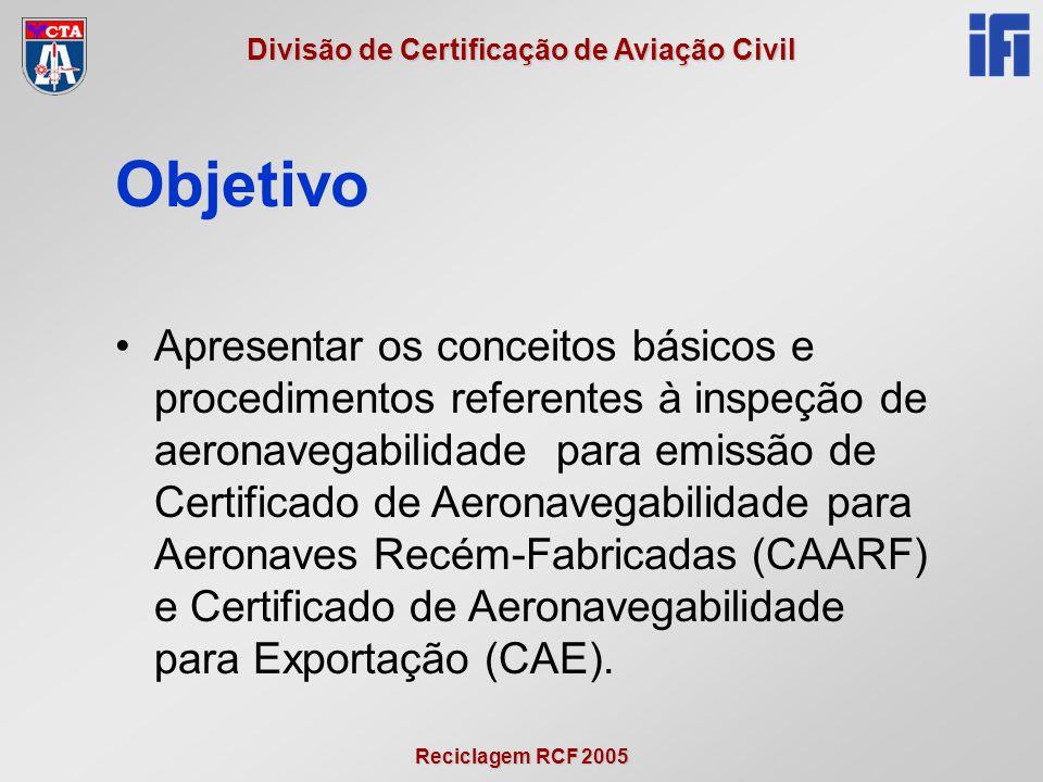 Reciclagem RCF 2005 Divisão de Certificação de Aviação Civil Objetivo •Apresentar os conceitos básicos e procedimentos referentes à inspeção de aerona