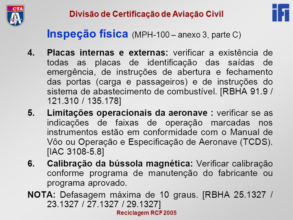 Reciclagem RCF 2005 Divisão de Certificação de Aviação Civil 4.Placas internas e externas: verificar a existência de todas as placas de identificação das saídas de emergência, de instruções de abertura e fechamento das portas (carga e passageiros) e de instruções do sistema de abastecimento de combustível.