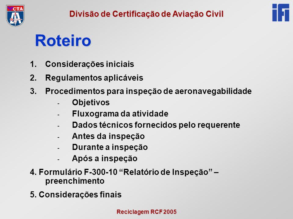 Reciclagem RCF 2005 Divisão de Certificação de Aviação Civil 1.Considerações iniciais 2.Regulamentos aplicáveis 3.Procedimentos para inspeção de aeron