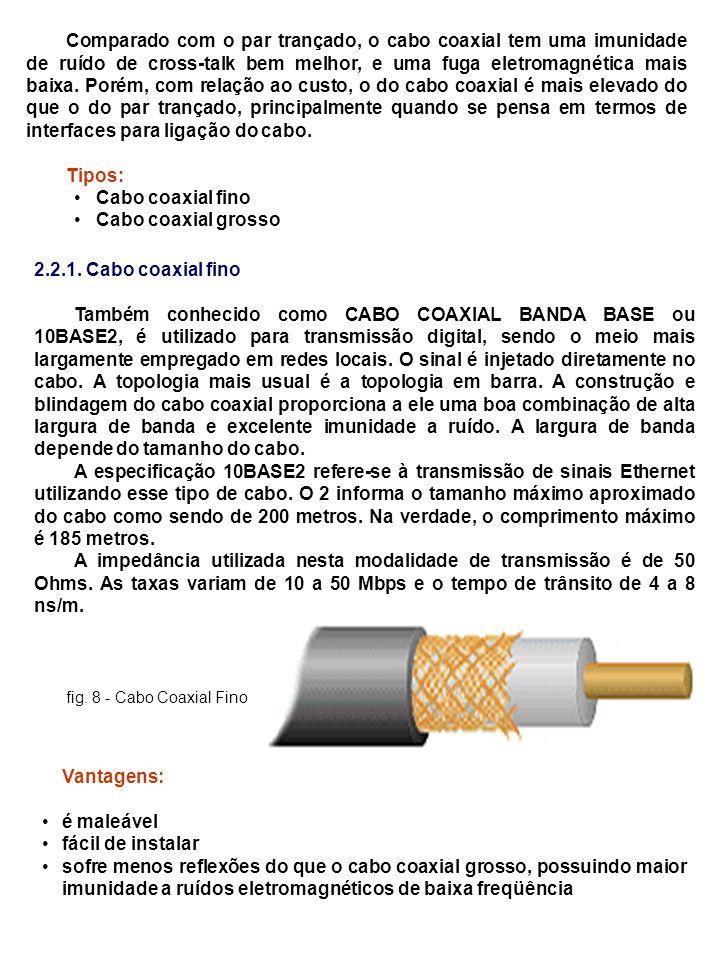 Comparado com o par trançado, o cabo coaxial tem uma imunidade de ruído de cross-talk bem melhor, e uma fuga eletromagnética mais baixa. Porém, com re