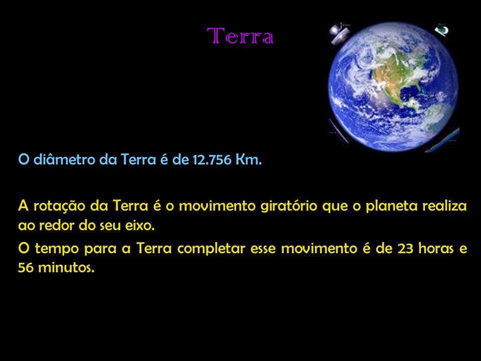 Terra O diâmetro da Terra é de 12.756 Km.