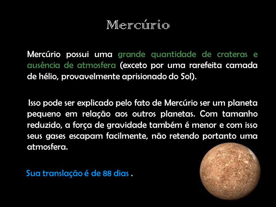 Mercúrio Mercúrio possui uma grande quantidade de crateras e ausência de atmosfera (exceto por uma rarefeita camada de hélio, provavelmente aprisionado do Sol).