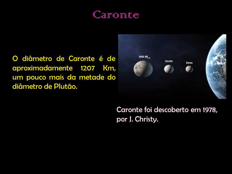 Caronte O diâmetro de Caronte é de aproximadamente 1207 Km, um pouco mais da metade do diâmetro de Plutão.