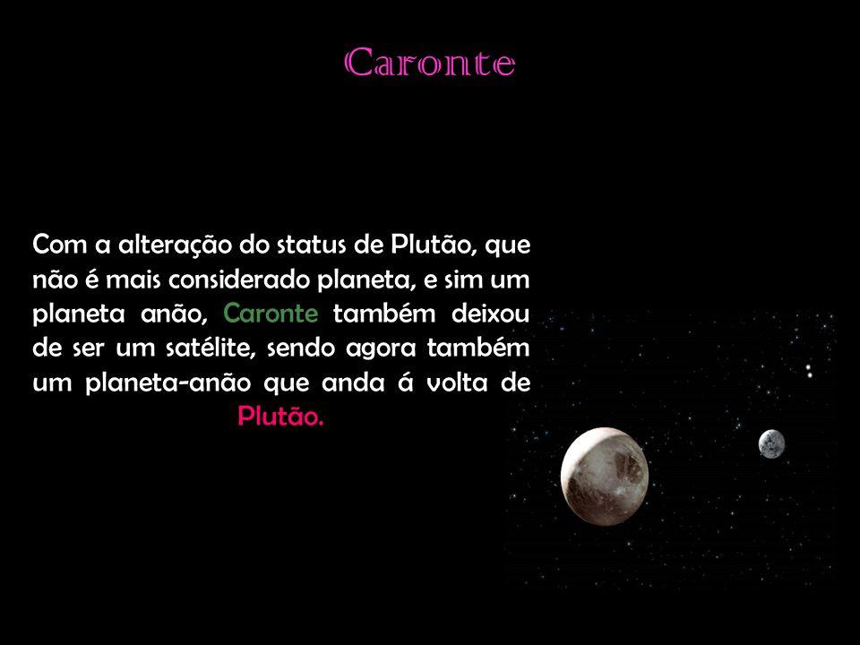 Caronte Com a alteração do status de Plutão, que não é mais considerado planeta, e sim um planeta anão, Caronte também deixou de ser um satélite, sendo agora também um planeta-anão que anda á volta de Plutão.