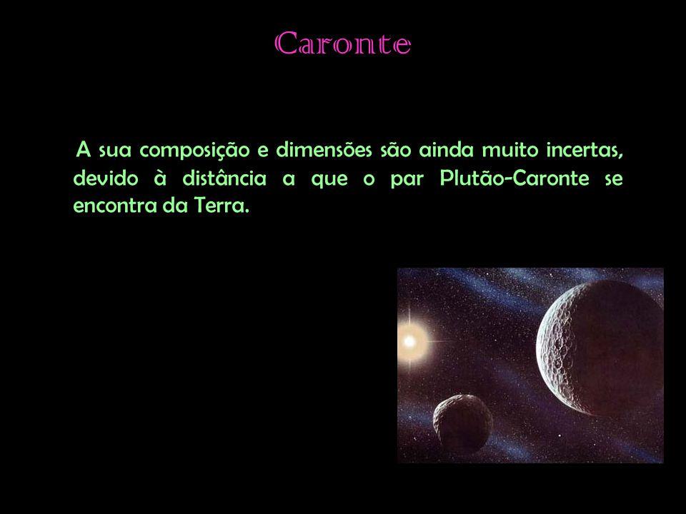 Caronte A sua composição e dimensões são ainda muito incertas, devido à distância a que o par Plutão-Caronte se encontra da Terra.