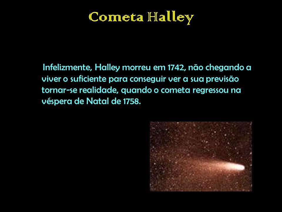 Infelizmente, Halley morreu em 1742, não chegando a viver o suficiente para conseguir ver a sua previsão tornar-se realidade, quando o cometa regressou na véspera de Natal de 1758.