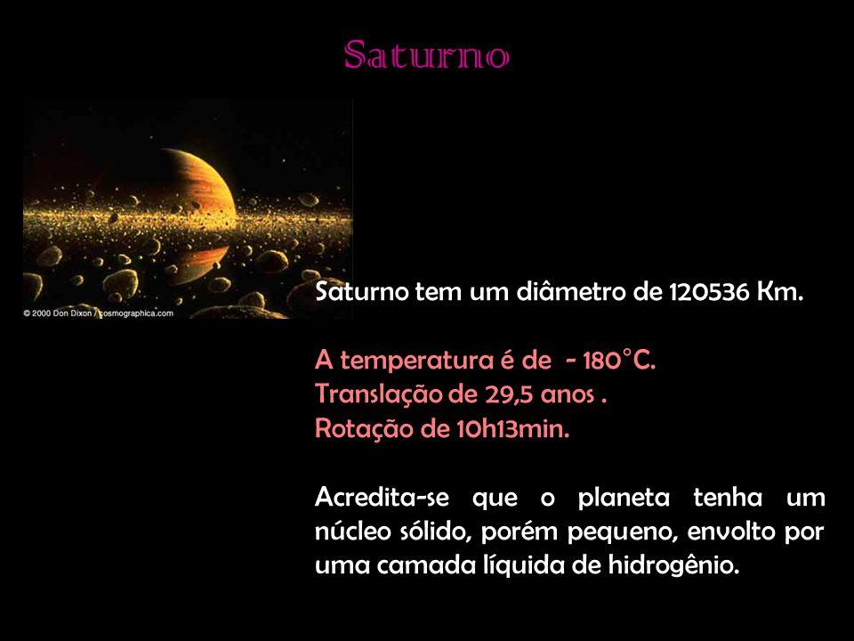 Saturno Saturno tem um diâmetro de 120536 Km.A temperatura é de - 180°C.
