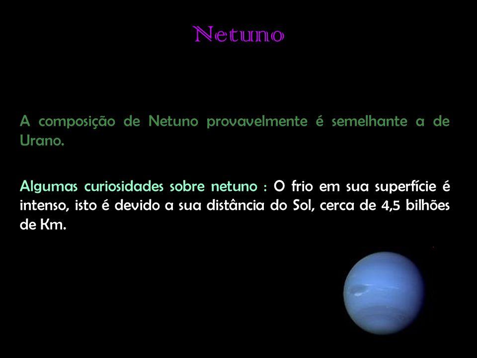 Netuno A composição de Netuno provavelmente é semelhante a de Urano.