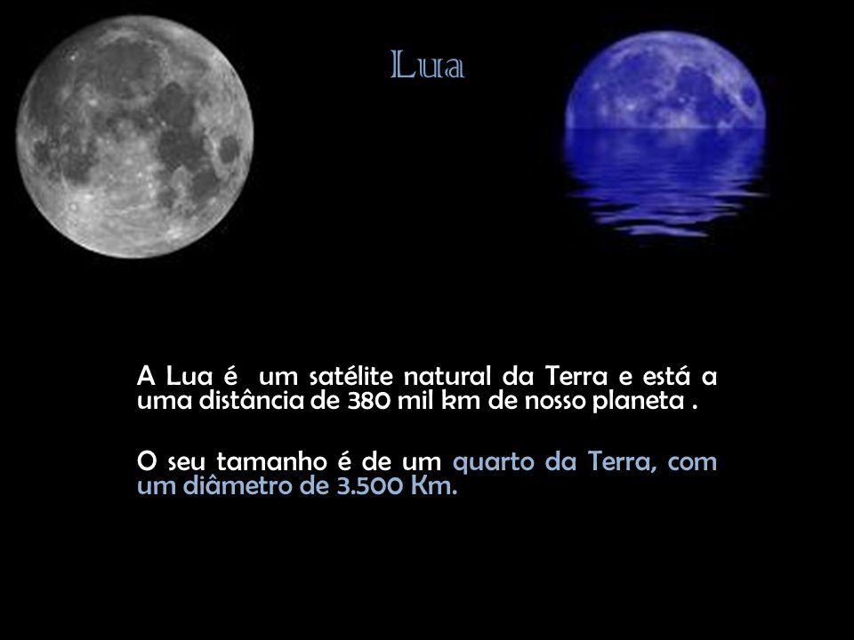 Lua A Lua é um satélite natural da Terra e está a uma distância de 380 mil km de nosso planeta.